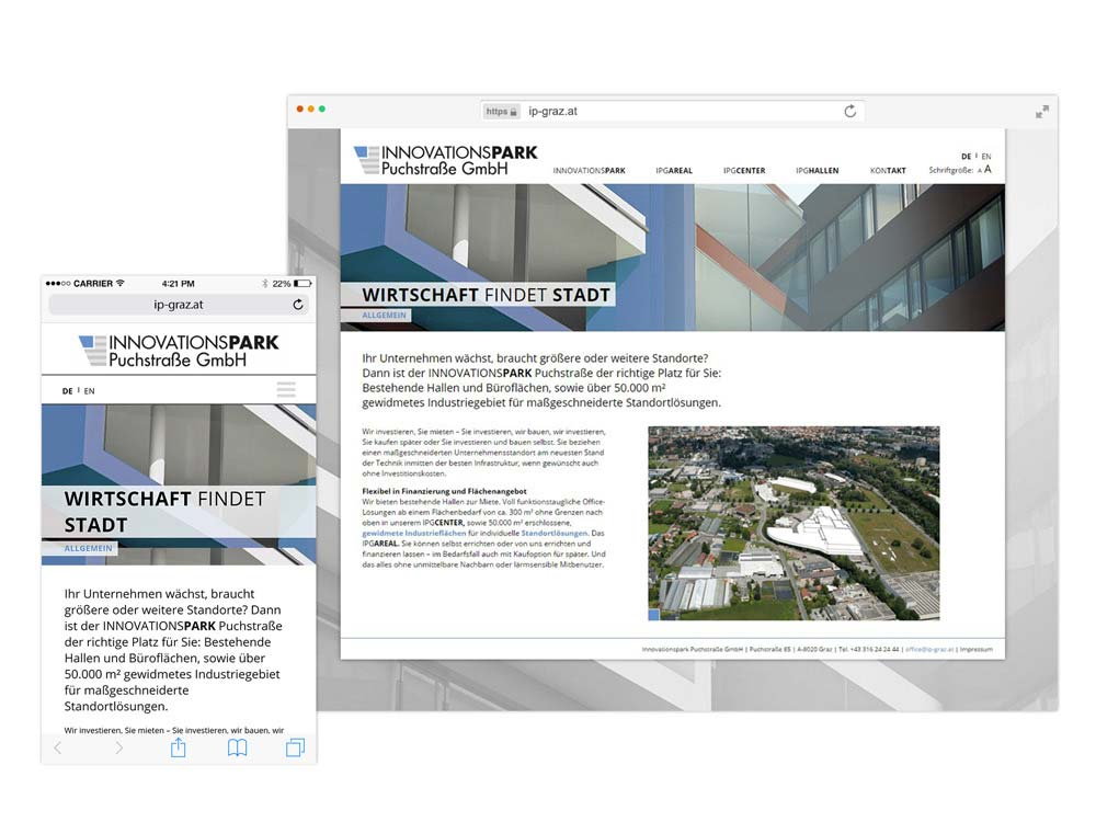 Website für Innovationspark Puchstraße